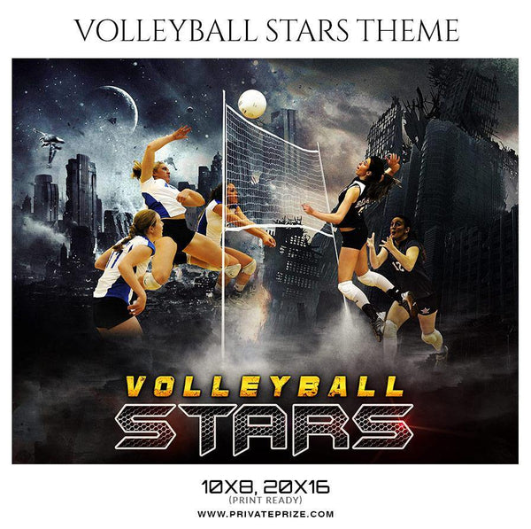 Volleyball Stars - Themed Sports Photography Photoshop Template