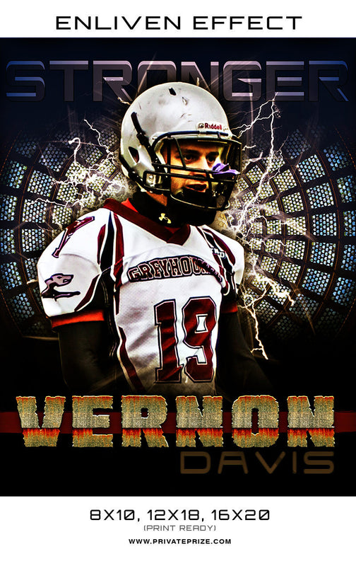 Vernon Davis Football Template Sports Template -  Enliven Effects - Photography Photoshop Template