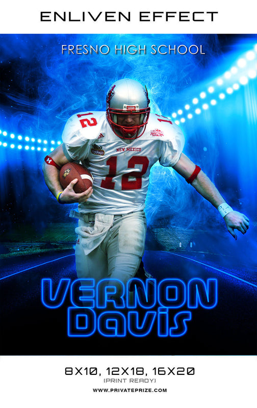 Vernon Fresno High School Sports Template -  Enliven Effects - Photography Photoshop Template