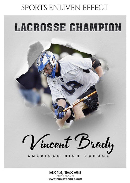 Vincent Brady - Lacrosse Sports Enliven Effects Photography Template