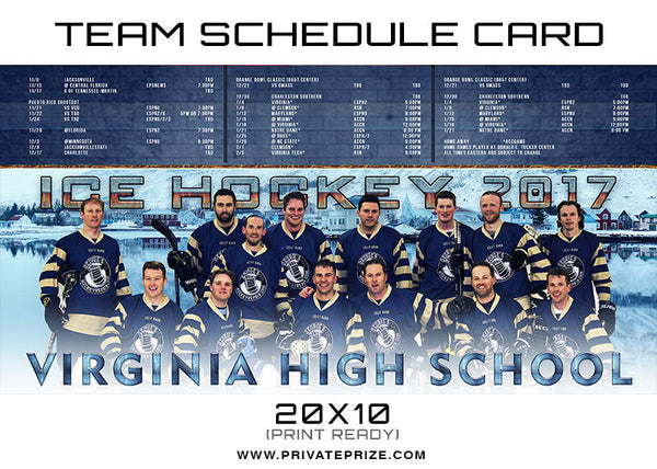 Virginia Team Schedule Card - Photography Photoshop Templates