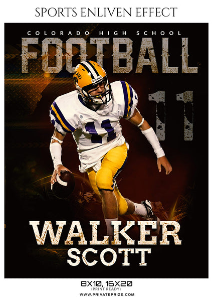 Walker Scott - Football Sports Enliven Effects Photography Template - Photography Photoshop Template