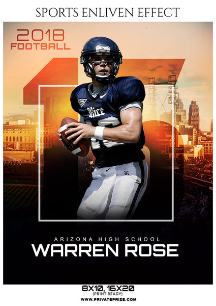 Warren Rose- Football Sports Enliven Effect Photography Template - Photography Photoshop Template
