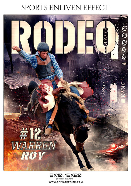 WARREN ROY-RODEO - SPORTS ENLIVEN EFFECT - Photography Photoshop Template