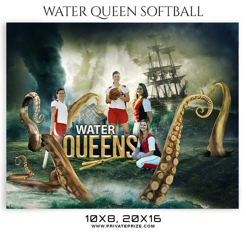 Water Queen Softball Themed Sports Photography Template