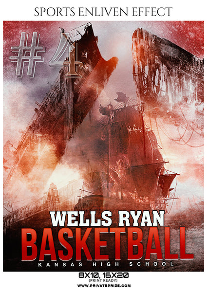 Wells Ryan - Basketball Sports Enliven Effects Photography Template - Photography Photoshop Template