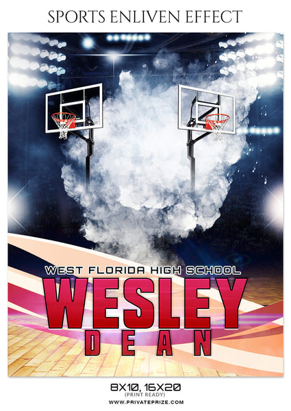WESLEY DEAN BASKETBALL- SPORTS ENLIVEN EFFECT - Photography Photoshop Template