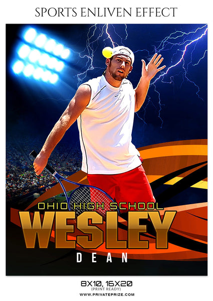 WESLEY DEAN-TENNIS - SPORTS ENLIVEN EFFECT - Photography Photoshop Template