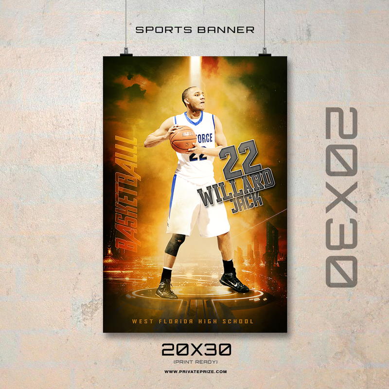 WILLARD JACK BASKETBALL - ENLIVEN EFFECTS SPORTS BANNER TEMPLATE - Photography Photoshop Template
