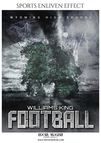 Williams King - Football Sports Enliven Effect Photography Template - Photography Photoshop Template