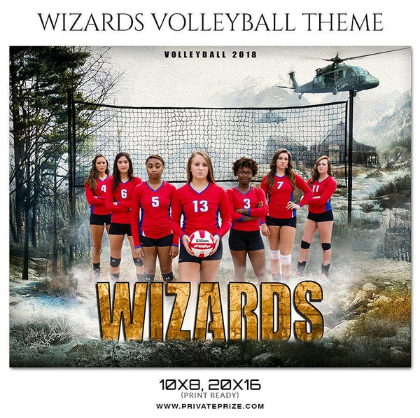 Wizards - Volleyball Themed Sports Photography Template - Photography Photoshop Template