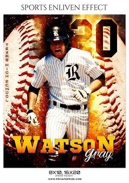 Watson Gray - Baseball Sports Enliven Effects Photography Template - Photography Photoshop Template