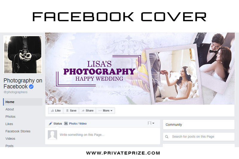 Facebook Timeline Cover Wedding Photography - Photography Photoshop Template
