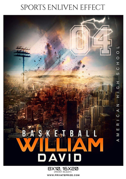 William David - Basketball Sports Enliven Effect Photography Template