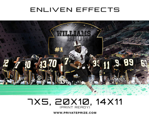 Williams Brown Football Photoshop Template - Enliven Effects