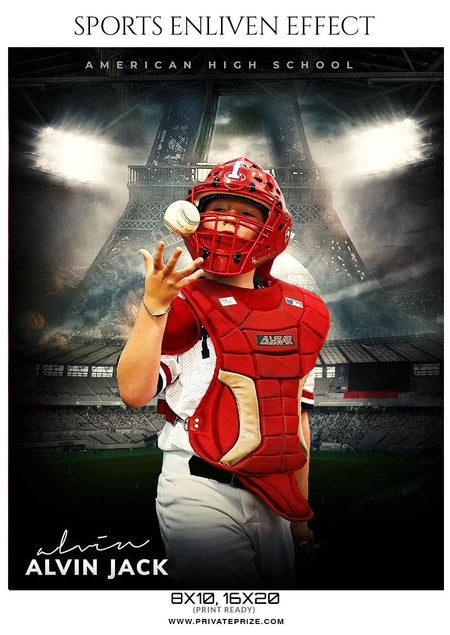 Alvin Jack - Baseball Sports  Enliven Effects Photography Template - Photography Photoshop Template