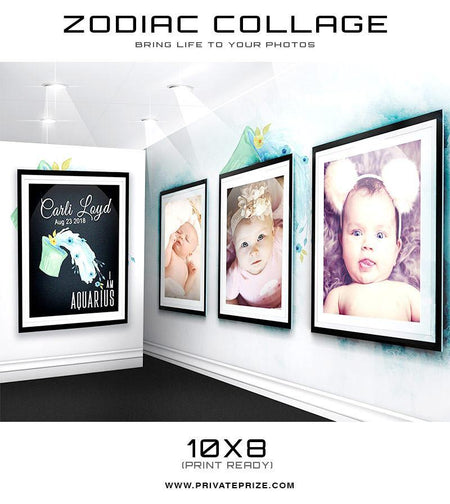 12 Zodiac Signs - 3D Wall Collage SET - Photography Photoshop Template