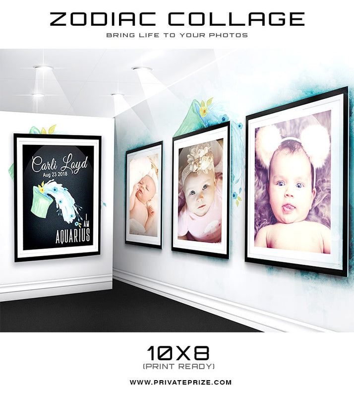 Zodiac - Aquarius 3D Wall Collage - Photography Photoshop Templates