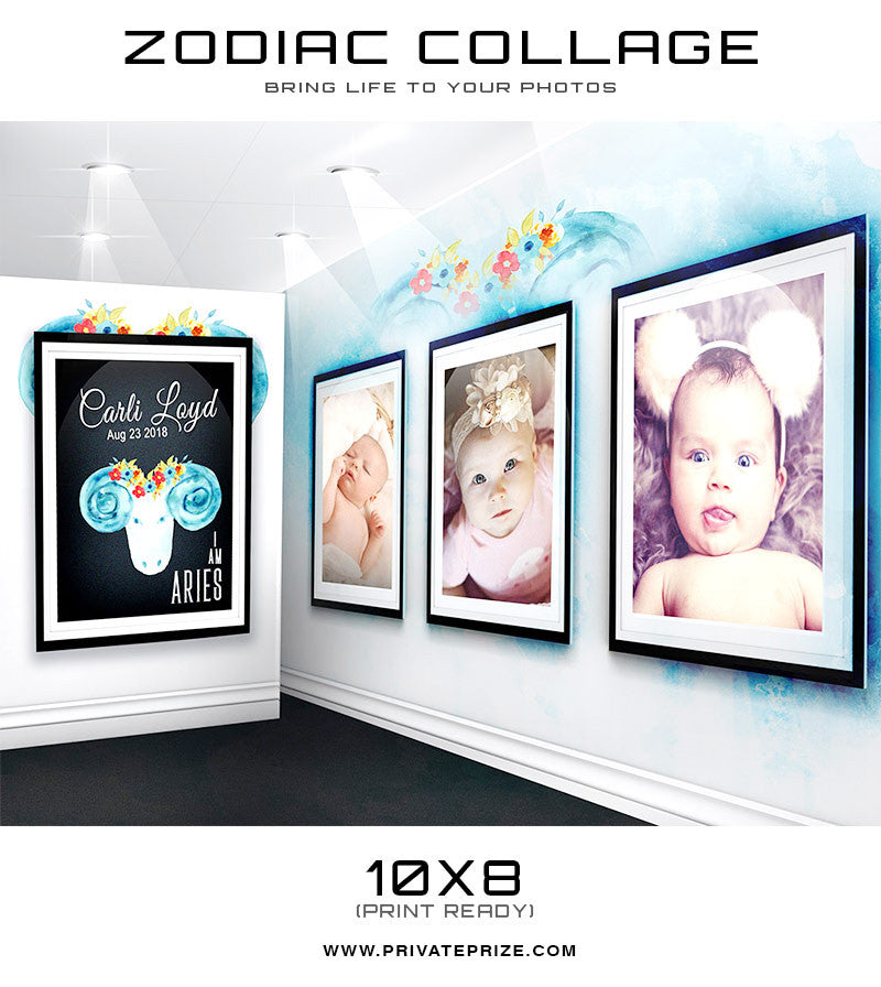 Zodiac - Aries 3D Wall Collage - Photography Photoshop Templates