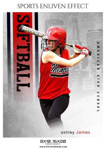 Ashley James - Softball Sports Enliven Effect Photography template