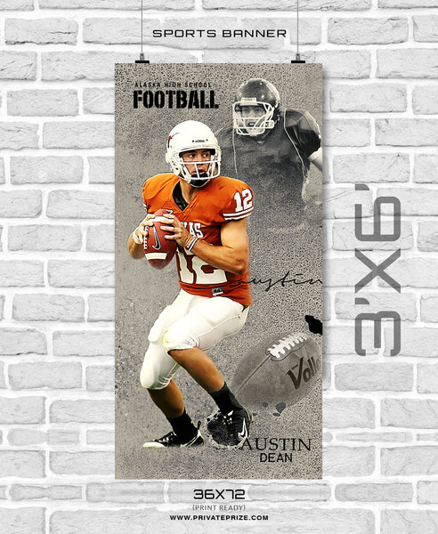 Austin Dean - Football Sports Banner Photoshop Template - Photography Photoshop Template