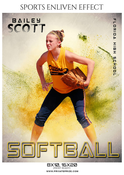 Bailey Scott - Softball Sports Enliven Effects Photography Template - Photography Photoshop Template
