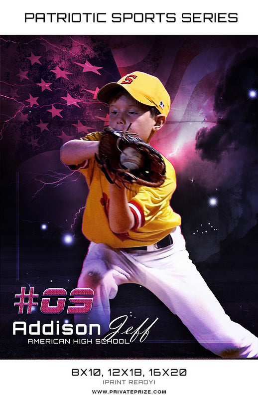 Addison Baseball - Sports Patriotic Series - Photography Photoshop Templates