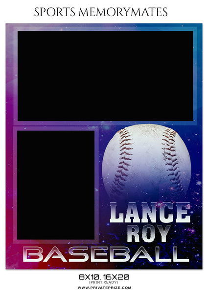LANCE ROY BASEBALL - SPORTS MEMORY MATE - Photography Photoshop Template
