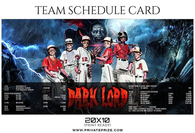 Baseball Team Sports Schedule Card Photoshop Templates