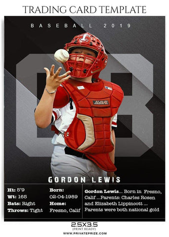 Trading Card - Baseball Sports Photoshop Template