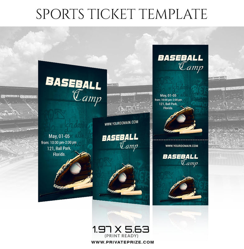 Baseball Camp Sports Ticket Template - Photography Photoshop Template