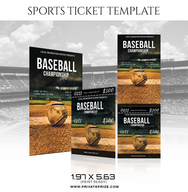 Baseball Championship Sports Ticket Template - Photography Photoshop Template