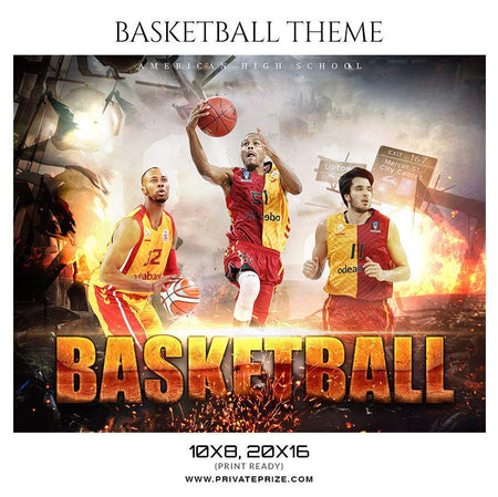 American High School - Basketball Themed Sports Photography Template - Photography Photoshop Template