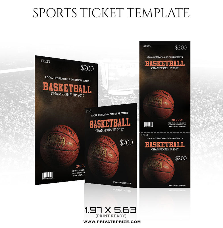 Basketball Sports Ticket Template - Photography Photoshop Template