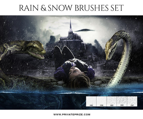 Rain & Snow-Brushes - Photography Photoshop Template