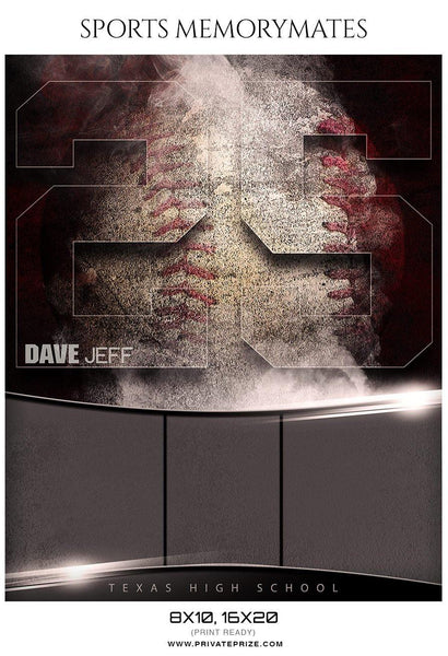 Dave Jeff - Baseball Memory Mate Photography Template - Photography Photoshop Template