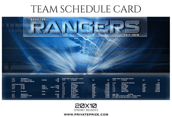 BASKETBALL RANGERS - SPORTS SCHEDULE CARD