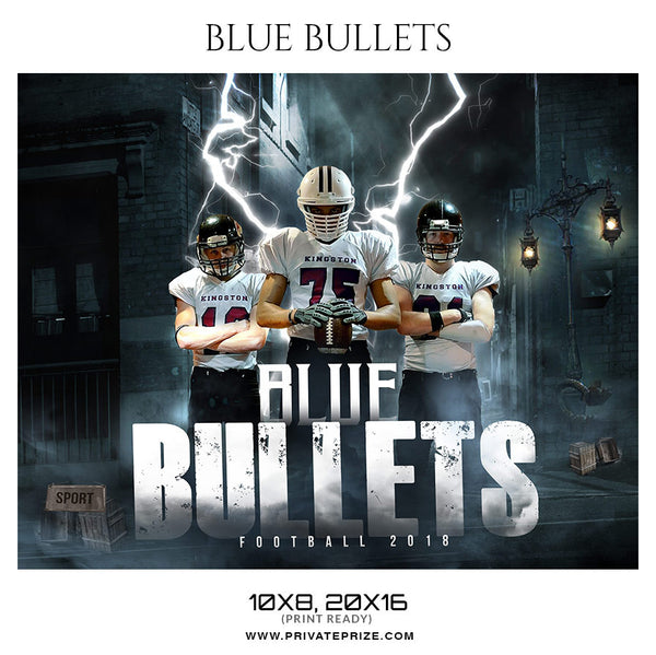Blue Bullets Football Themed Sports Photography Template - Photography Photoshop Template