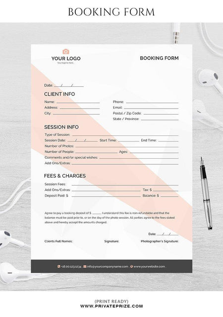 Booking form for photographers - Photography Photoshop Template