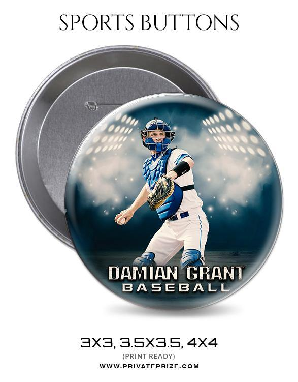 Damian Grant - Baseball Sports Button - Photography Photoshop Template