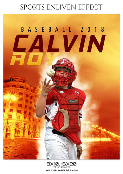 CALVIN ROY- BASEBALL- SPORTS ENLIVEN EFFECT - Photography Photoshop Template