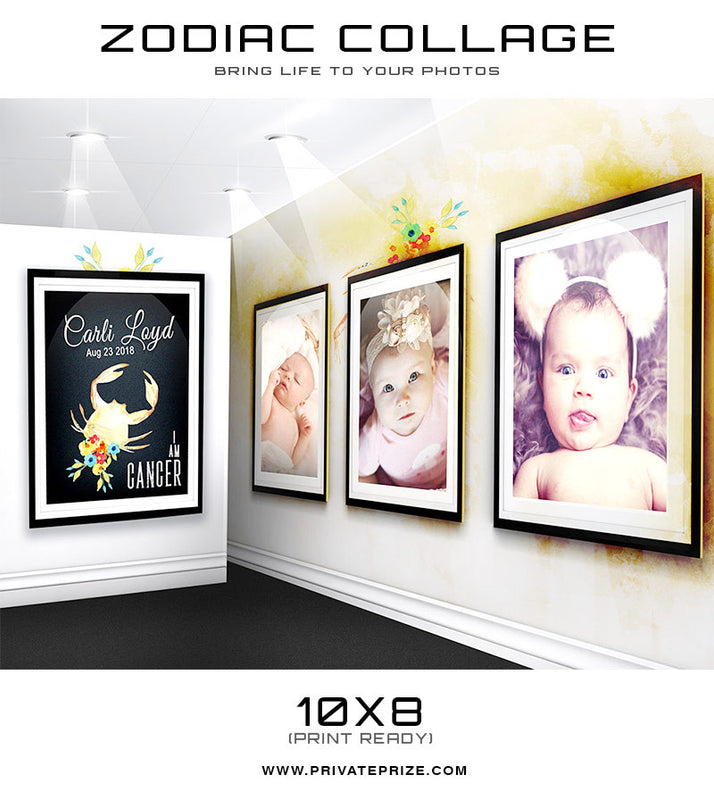 Zodiac - Cancer 3D Wall Collage - Photography Photoshop Templates