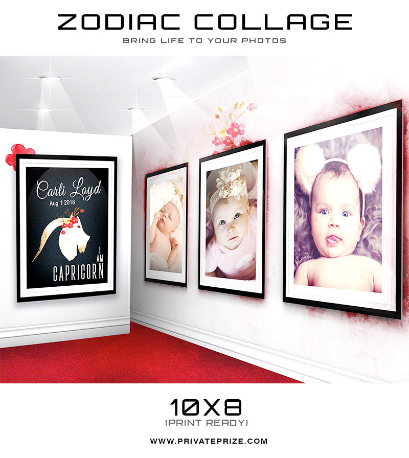 Zodiac - Capricorn 3D Wall Collage - Photography Photoshop Templates