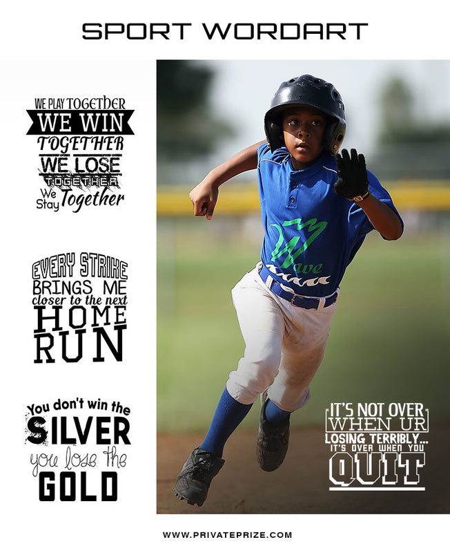 Sports Word Art Overlays - Don't Quit - Photography Photoshop Templates