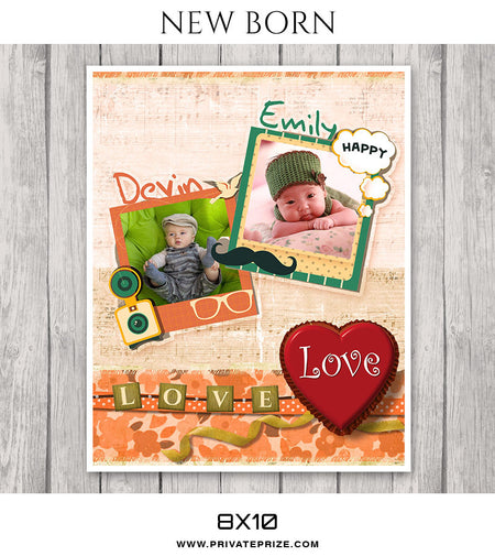 Emily & Devin-New Born - Photography Photoshop Template