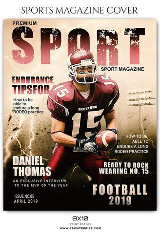 Football Sports Photography - Magazine Cover templates