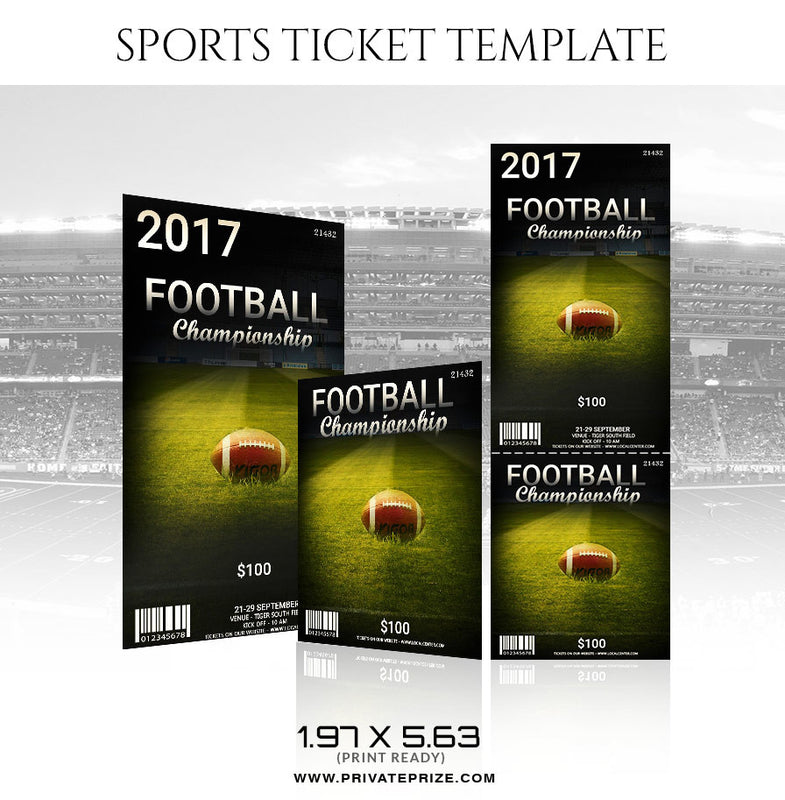 Football Sports Ticket Template - Photography Photoshop Template