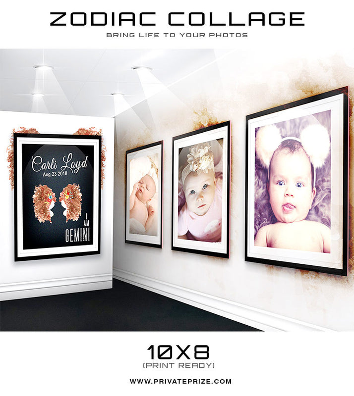 Zodiac - Gemini 3D Wall Collage - Photography Photoshop Templates