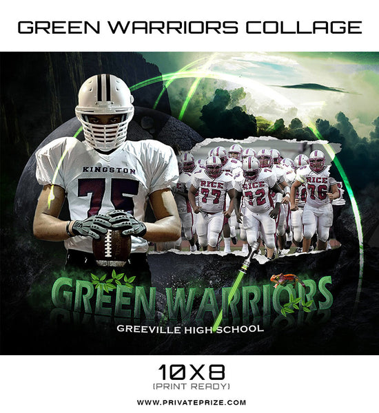 Green Warriors Themed Sports Template - Photography Photoshop Templates