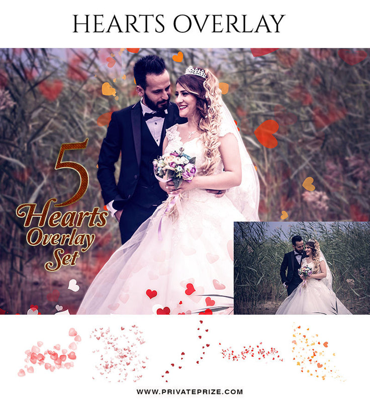 Hearts - Designer Pearls Overlays - Photography Photoshop Template